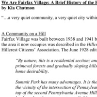 We are Fairfax Village: a brief history of the Fairfax Village Community