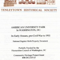 American University Park in Washington, DC; Its Early Houses, pre-Civil War to 1911; National Register Multi-Property Document